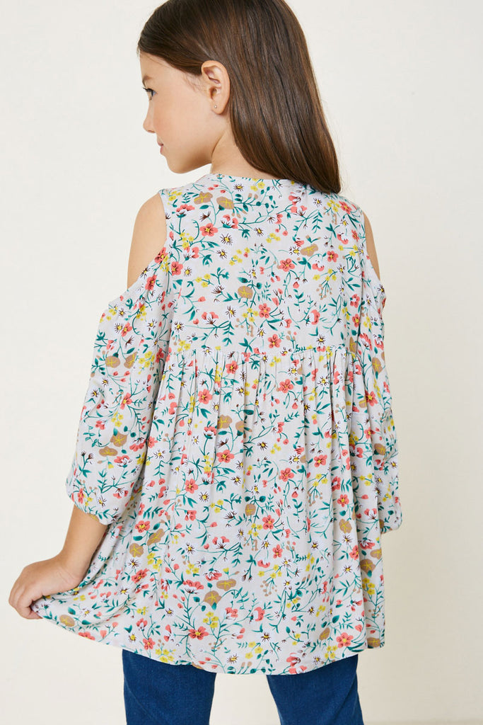 Ivory Floral Cold Shoulder Tunic Top Back