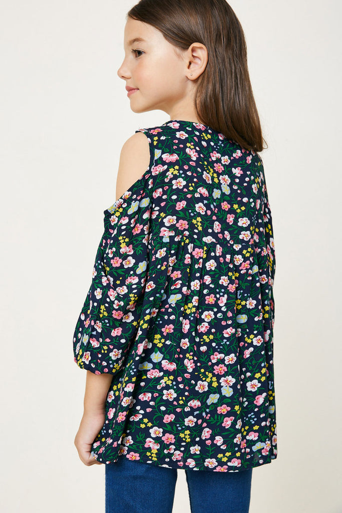 Navy Floral Cold Shoulder Tunic Top Back