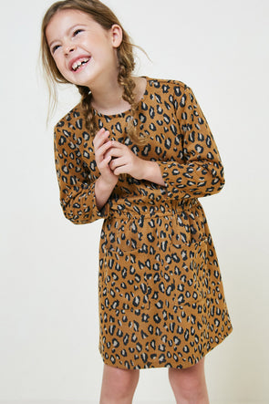 Leopard Pocket Sweater Dress Camel front