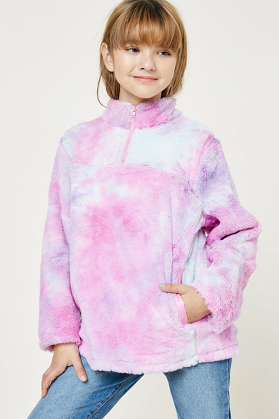 Multi Tie Dye Fleece Zip Up Pullover Front