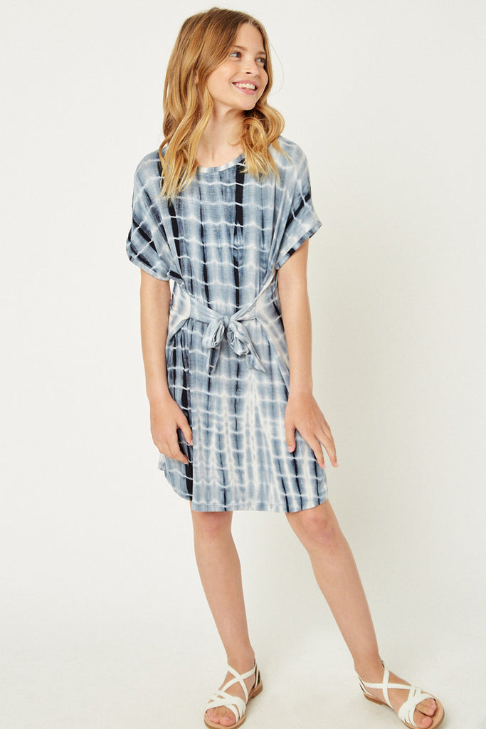 Navy Tie Dye T-Shirt Dress Front