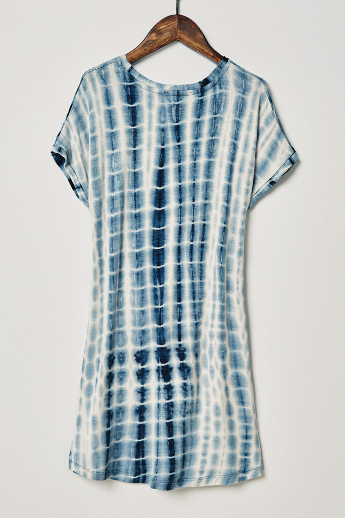 Navy Tie Dye T-Shirt Dress Back