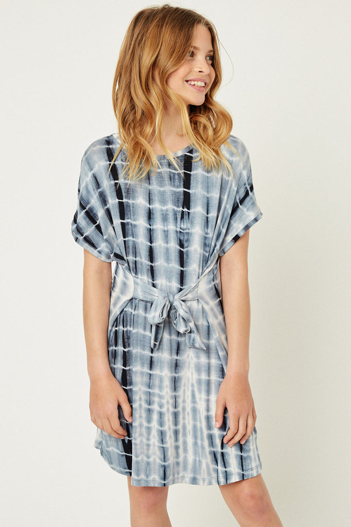 Navy Tie Dye T-Shirt Dress Front Detailed