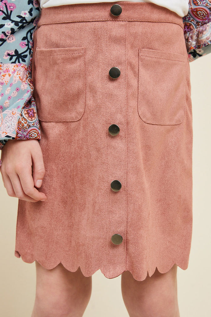 G5031-DUSTY PINK Scallop Hem Faux Suede Skirt Front