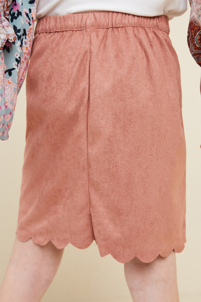 G5031-DUSTY PINK Scallop Hem Faux Suede Skirt Back