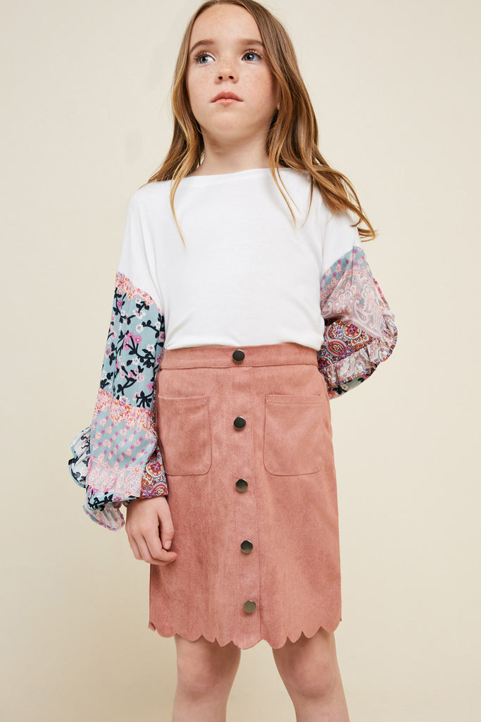 G5031-DUSTY PINK Scallop Hem Faux Suede Skirt Full Body