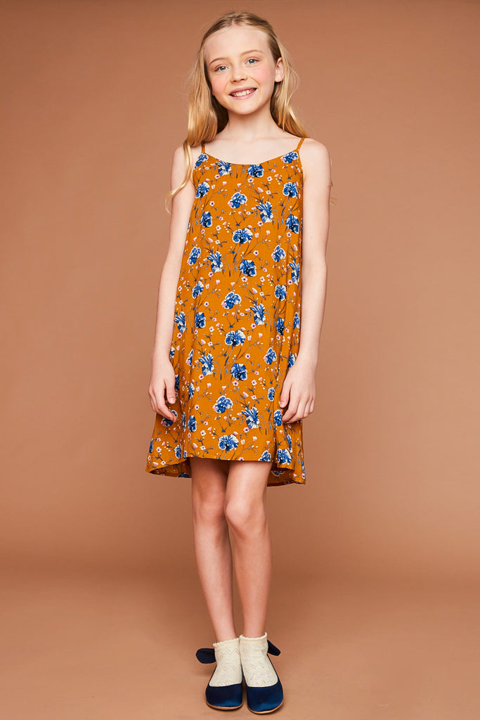 G5493 Honey Floral Printed Tank Dress Full Body