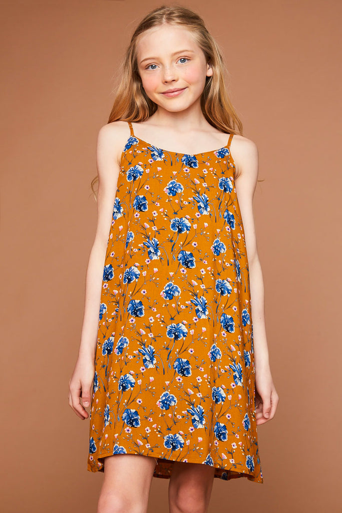 G5493 Honey Floral Printed Tank Dress Front