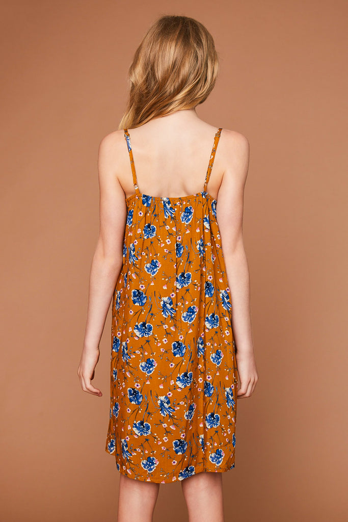 G5493 Honey Floral Printed Tank Dress Back