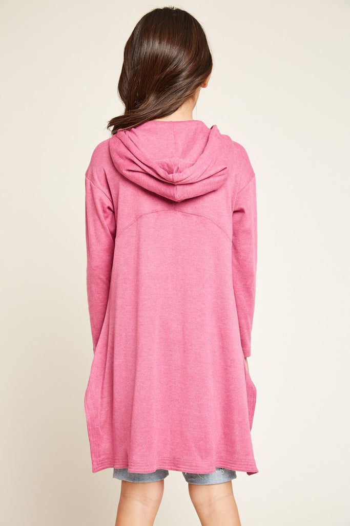 G5522 MAGENTA Zip Up Hoodie with Side Slits Back