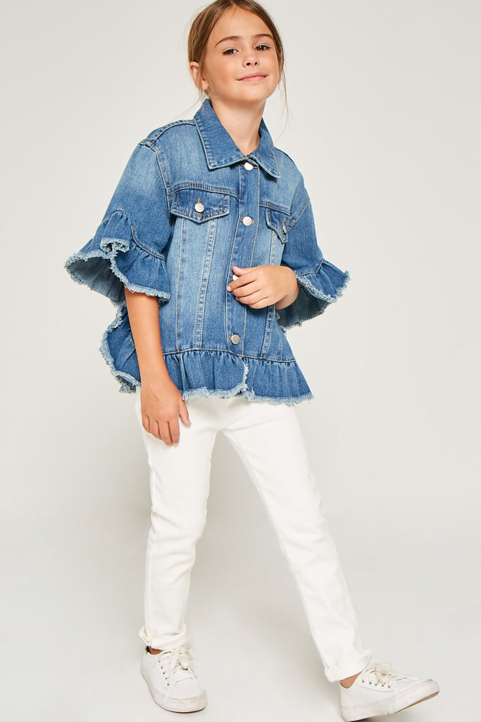G5588 MID DENIM Ruffle Stone Wash Denim Jacket Alternate Angle