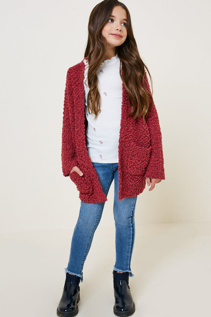 Rose Textured Dolman Sleeve Sweater Cardigan Full body