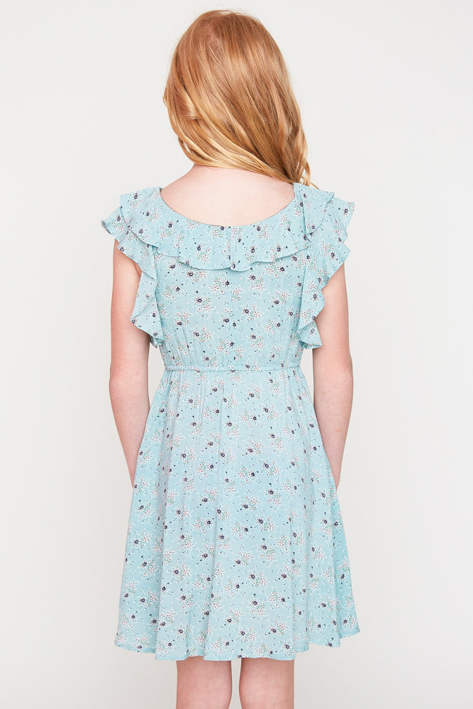 G6050 Mint Floral Print Ruffle Dress Back