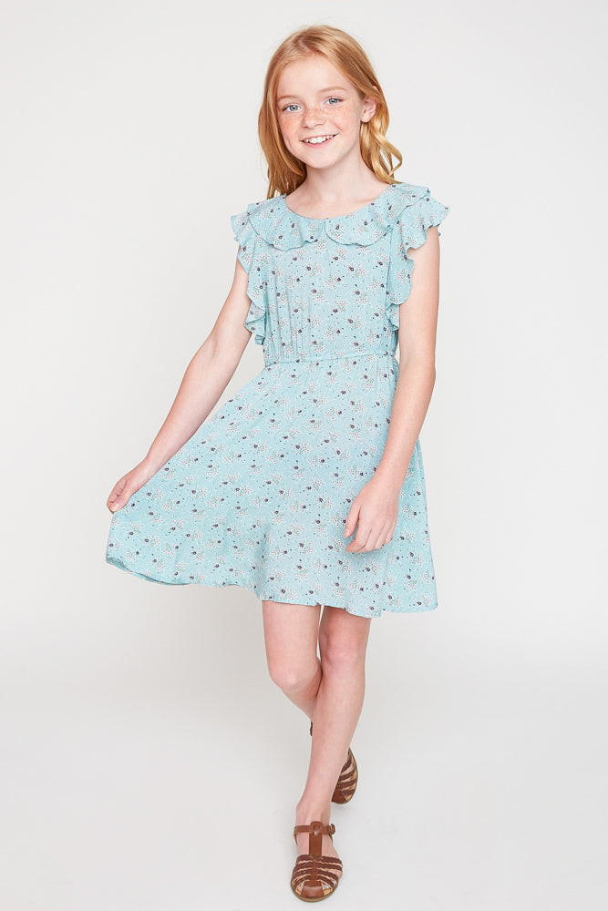 G6050 Mint Floral Print Ruffle Dress Full Body