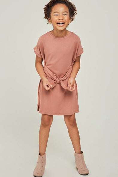 Short Sleeve Tie Front T-Shirt Dress
