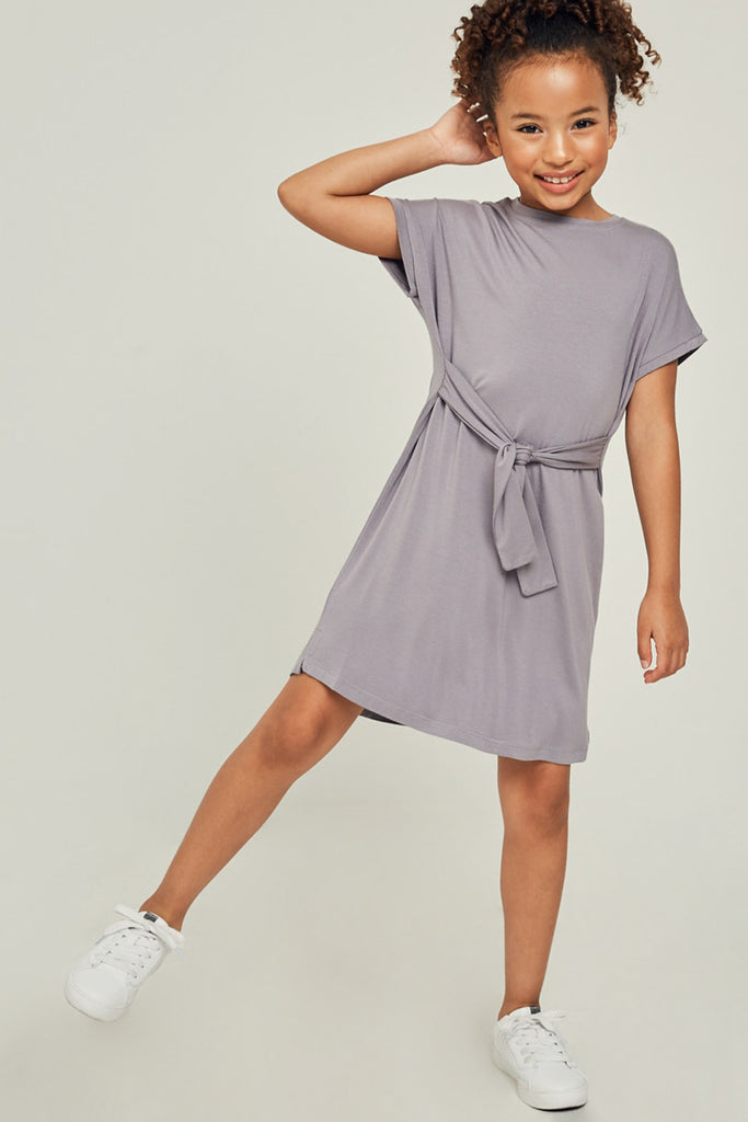 G6118-SLATE Short Sleeve Tie Front Mini T-Shirt Dress Front
