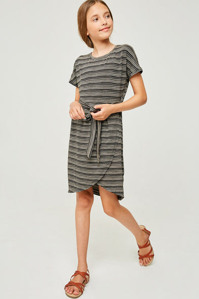 Stripe Jersey Knit Overlay Shirt Dress - Girls Clothing & Fashion - Hayden Girls