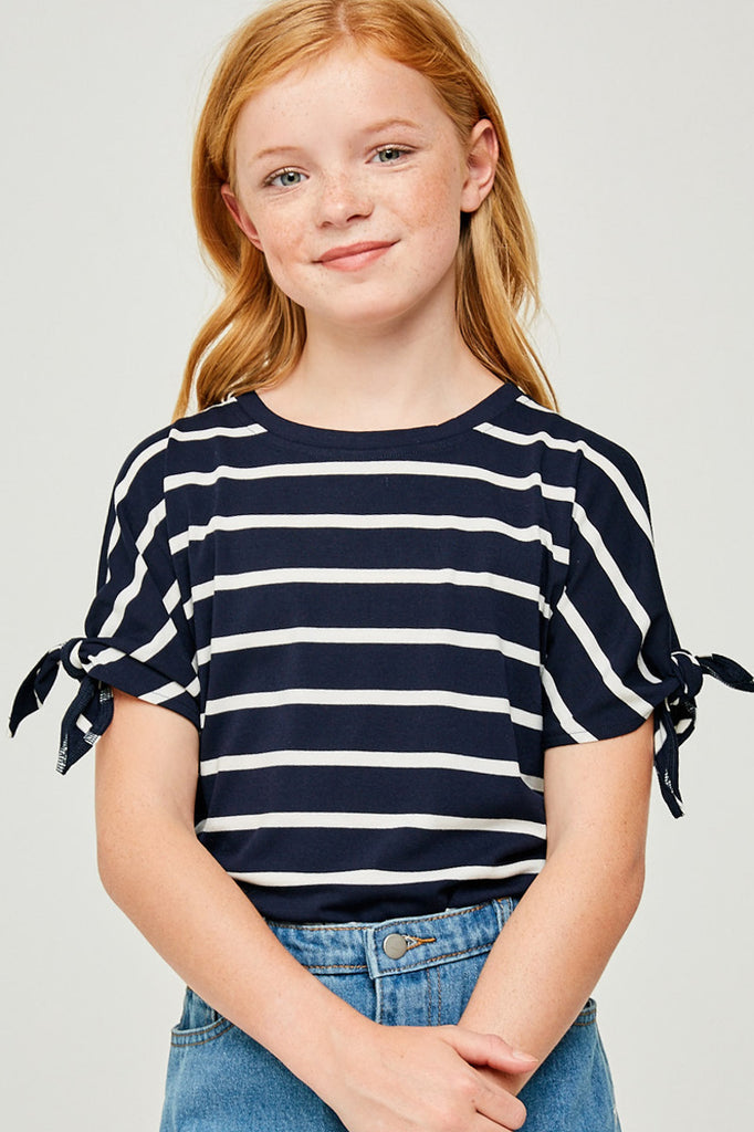 G6415-NAVY Stripe Tie-Sleeve T-Shirt Front