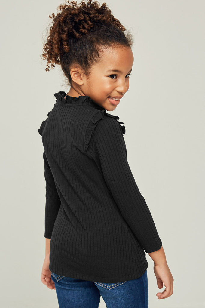 G6452-BLACK Ribbed Ruffle Mock Neck Long Sleeve Top Back