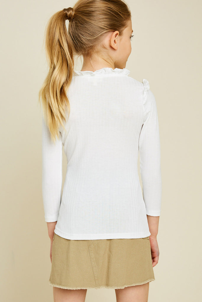 G6452-OFF WHITE Ribbed Ruffle Mock Neck Long Sleeve Top Back