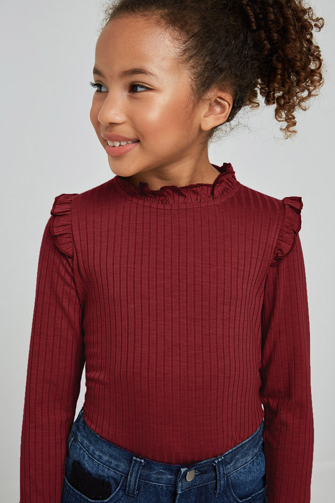 G6452-WINE Ribbed Ruffle Mock Neck Long Sleeve Top Alternate Angle