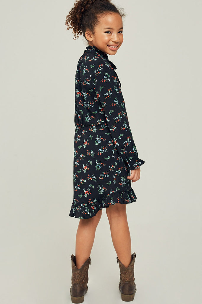 G6488-BLACK Floral Ruffle Mock Neck Mini Dress Back