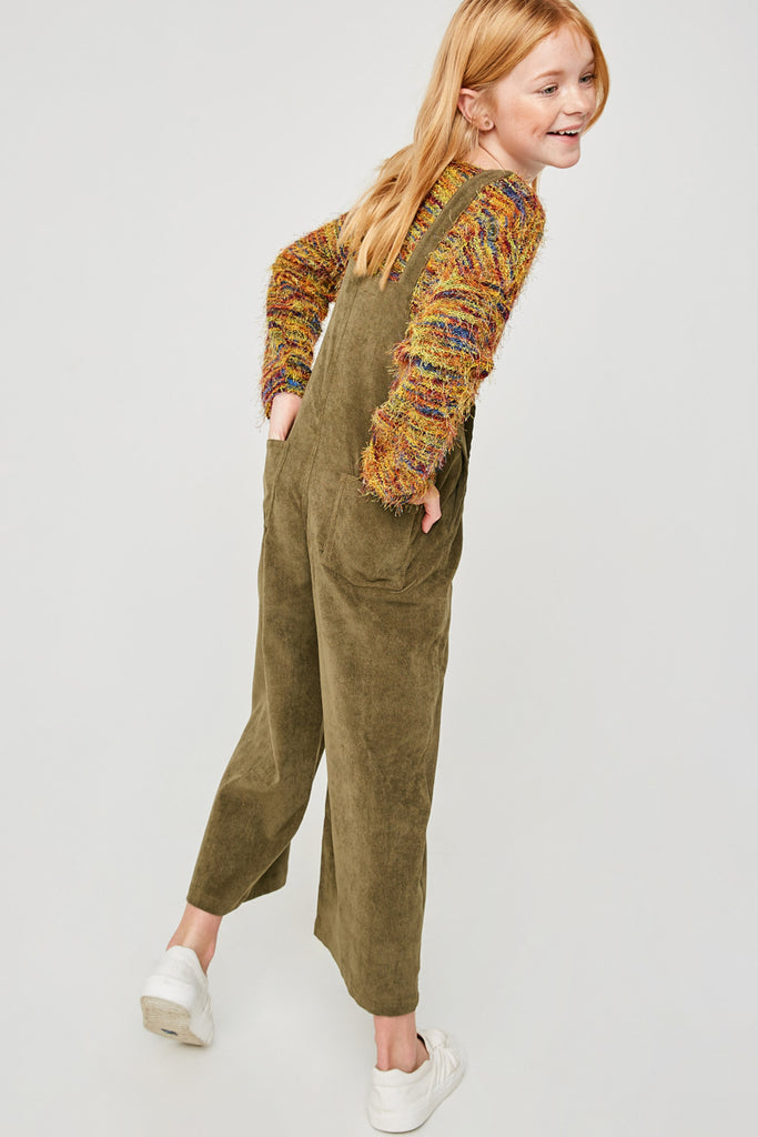 G6615-OLIVE Wide-Leg Corduroy Overall Back