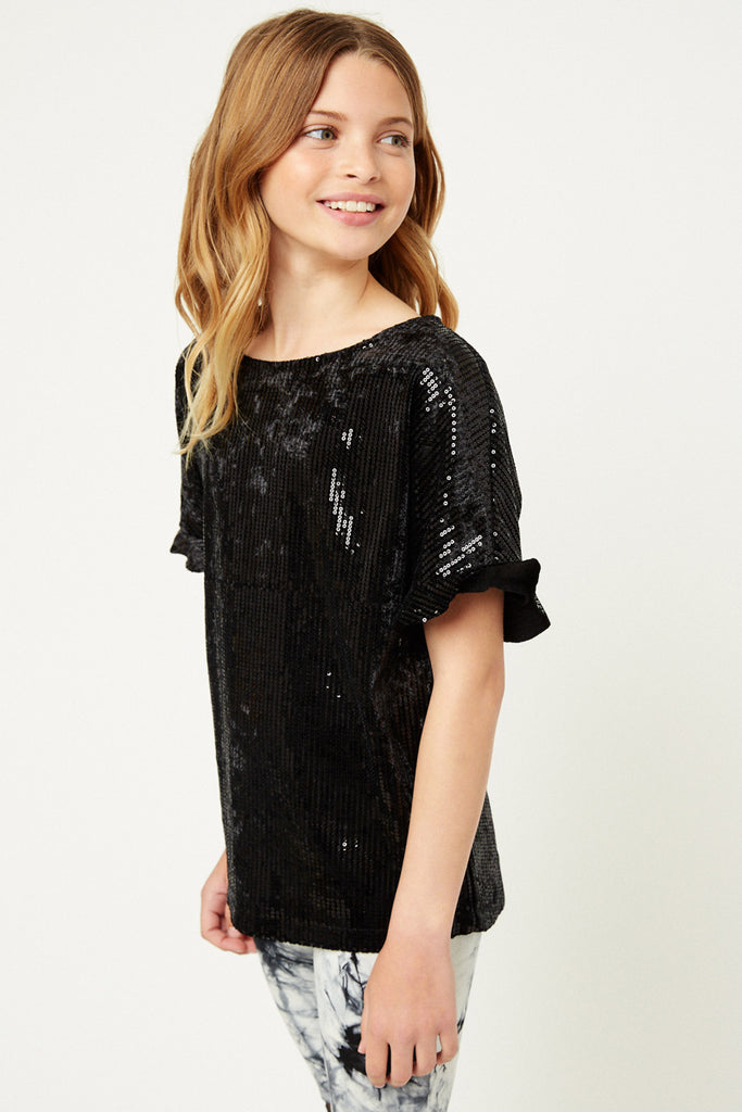 G6635-BLACK Sequin Ruffle Top Front