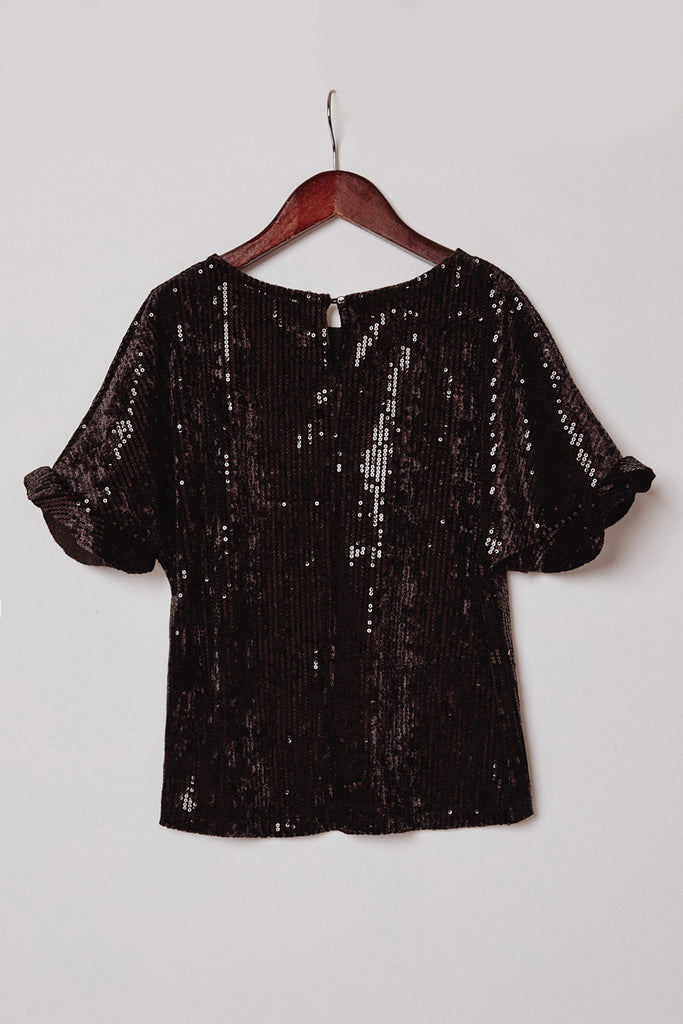 G6635-BLACK Sequin Ruffle Top Back
