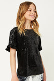 G6635-BLACK Sequin Ruffle Top Alternate Angle