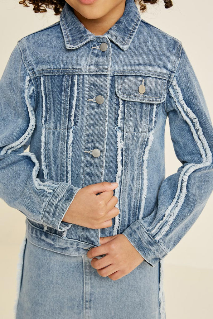 frayed denim trucker jacket Denim 2