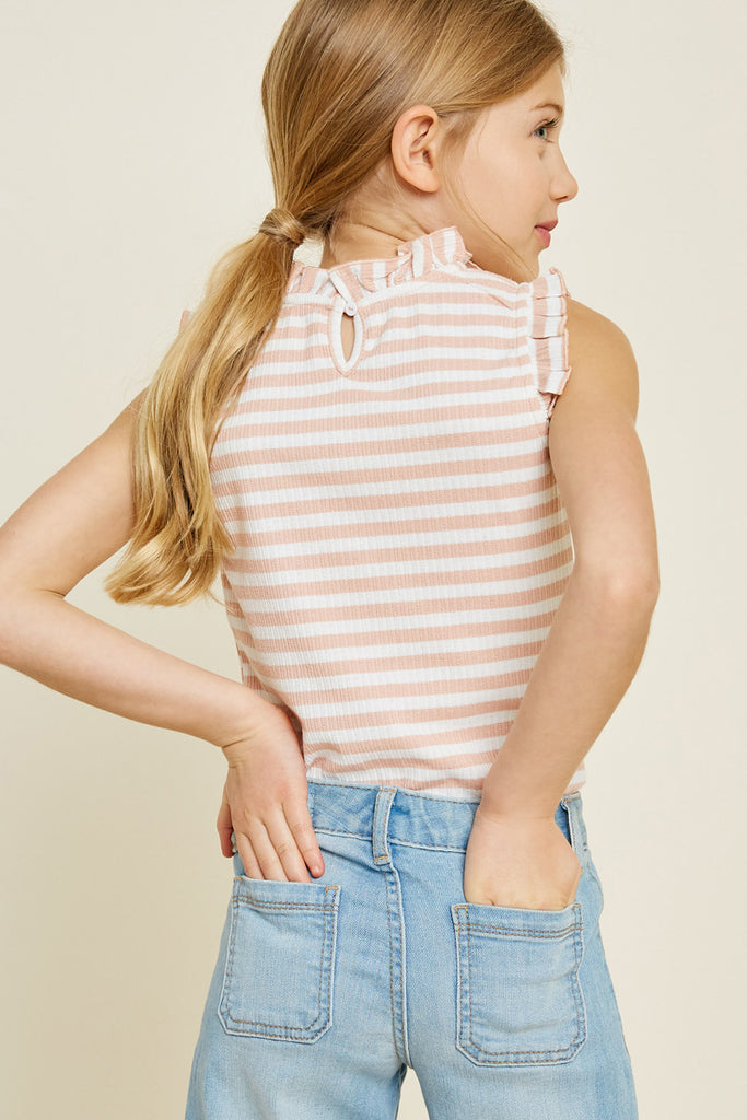 Pink Sleeveless Stripe Ruffle Mock Neck Top Front View