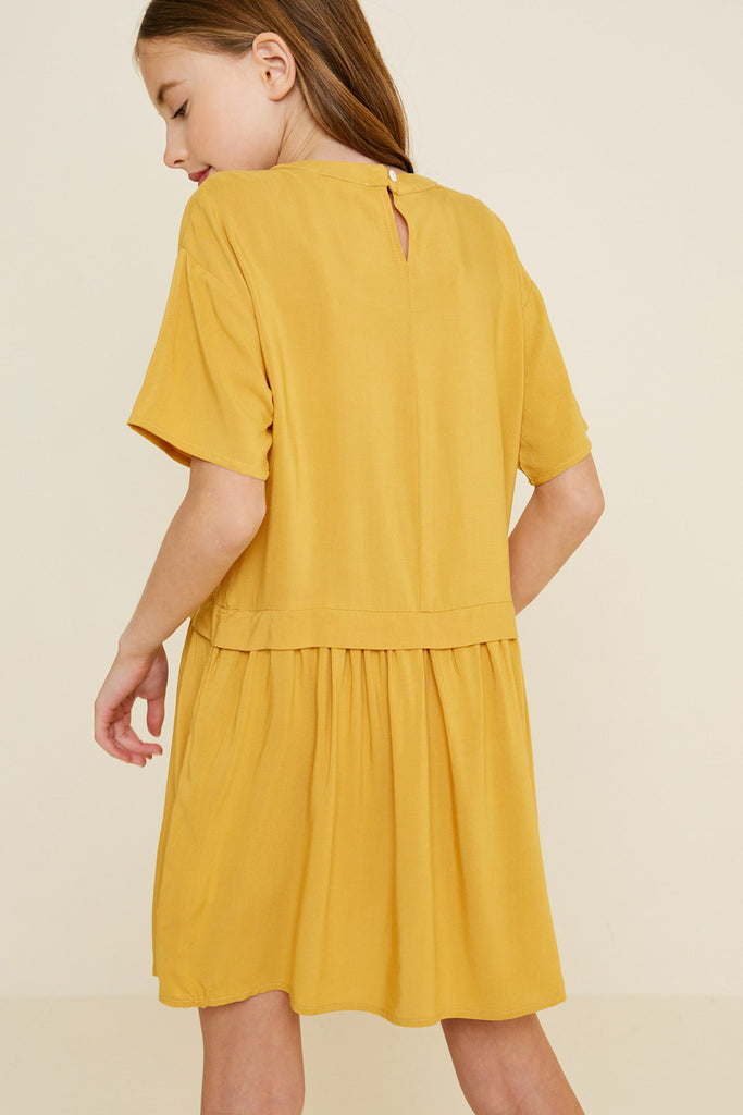 G7088-HONEY Pleated Mini Tunic Dress Back