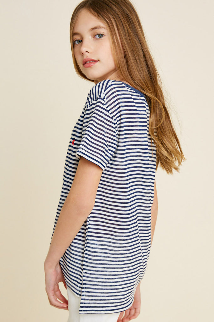 G7113-NAVY MIX Stripe Embroidered Flower High-Low T-Shirt Back
