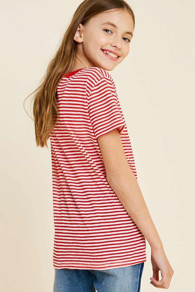 G7113-RED MIX Stripe Embroidered Flower High-Low T-Shirt Back