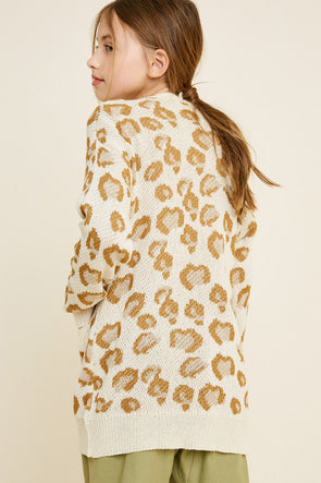 leopard knit open front cardigan Cream 5