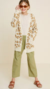 leopard knit open front cardigan Cream 6