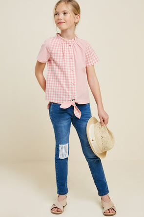 Gingham Blocked Button-Down Tie-Front Top