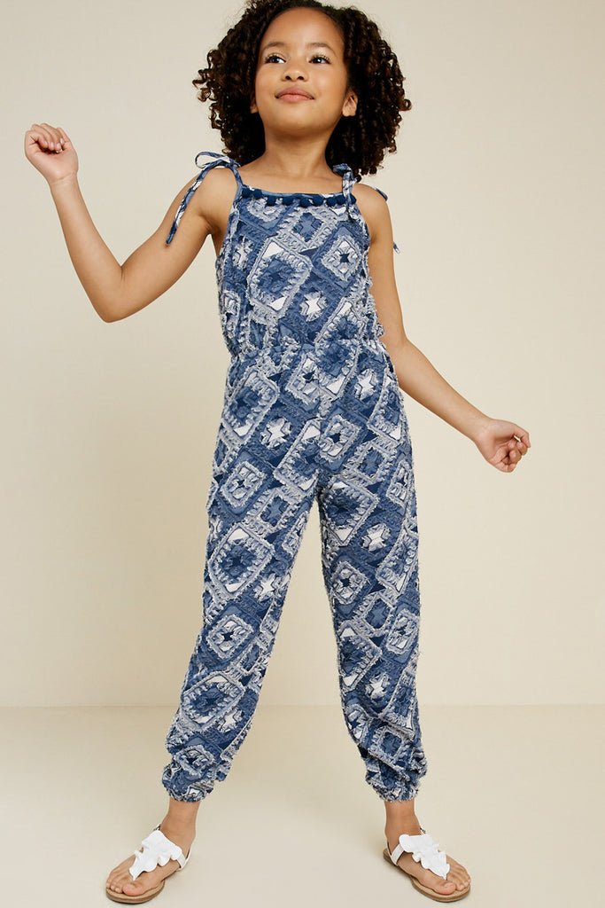 Textured Tie-Strap Jumpsuit full body