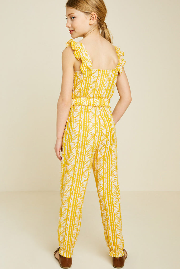 G7340-YELLOW Printed Tassel-Tie Jumpsuit Back
