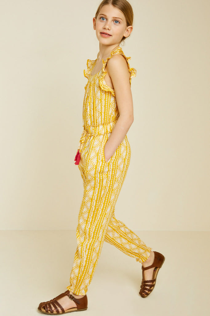 G7340-YELLOW Printed Tassel-Tie Jumpsuit Alternate Angle