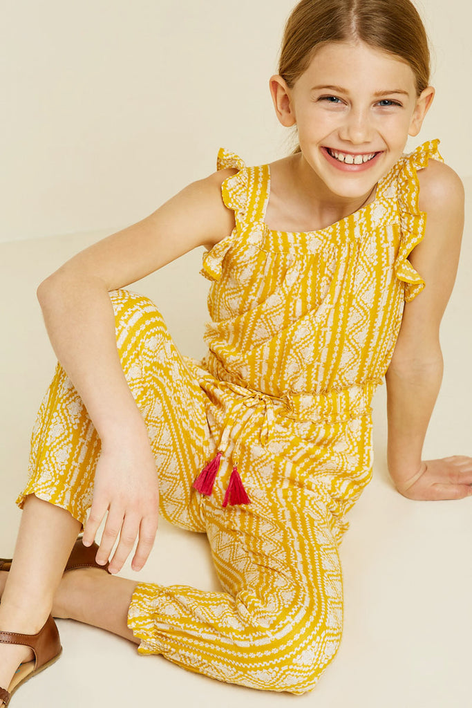 G7340-YELLOW Printed Tassel-Tie Jumpsuit Sitting