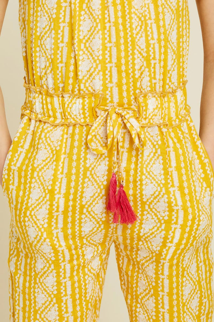 G7340-YELLOW Printed Tassel-Tie Jumpsuit Front Detail