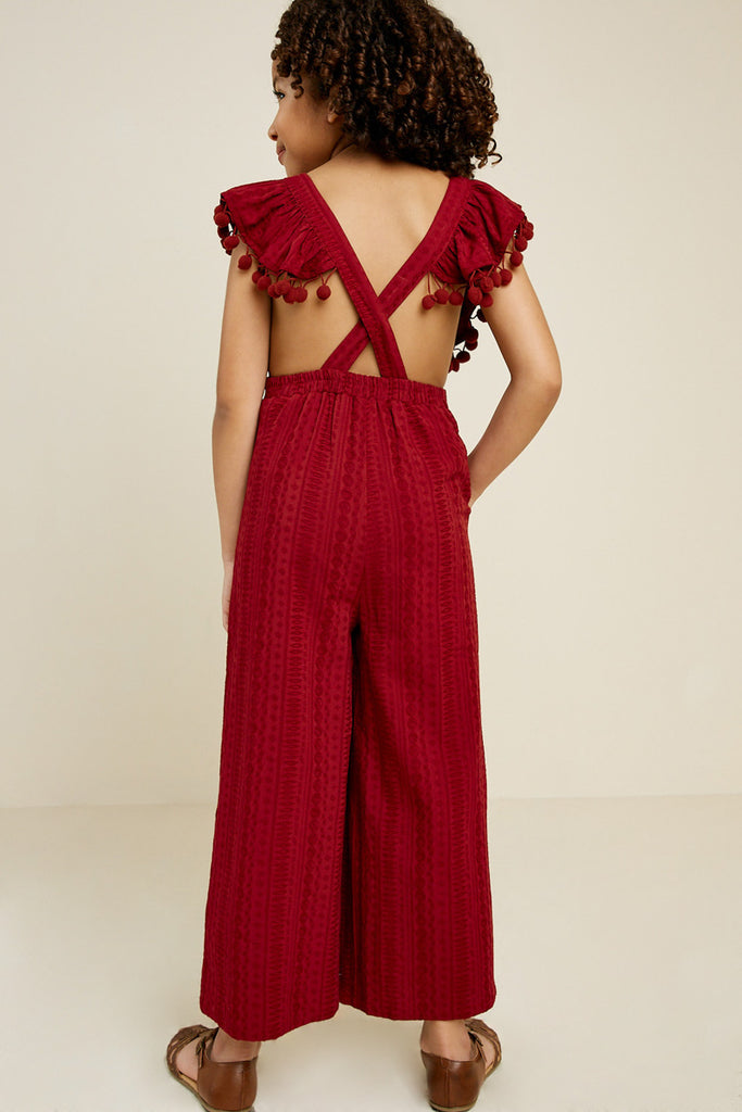G7399-BURGUNDY Pom Pom Cross Back Jumper Back