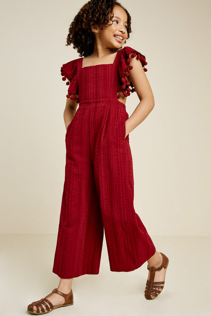 G7399-BURGUNDY Pom Pom Cross Back Jumper Front Detail
