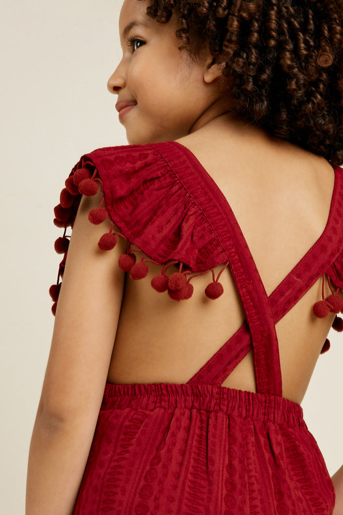 G7399-BURGUNDY Pom Pom Cross Back Jumper Back Detail