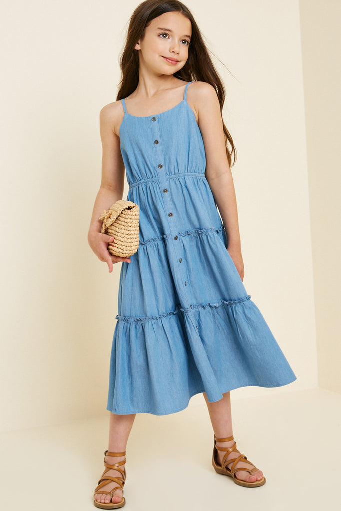 G7404-MID DENIM Denim Tier Button-Down Midi Dress Front