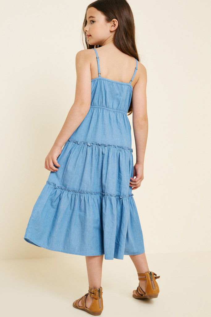 G7404-MID DENIM Denim Tier Button-Down Midi Dress Back