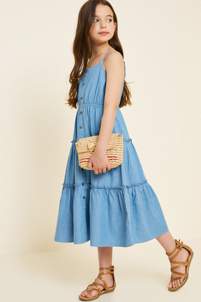 G7404-MID DENIM Denim Tier Button-Down Midi Dress Alternate Angle