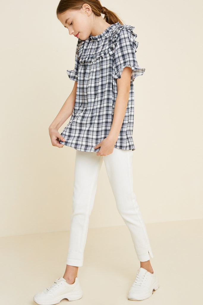 plaid ruffle mock neck top  5